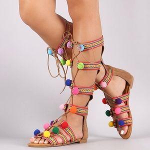 Bohemian PomPom Lace Up Gladiator Sandals size 7